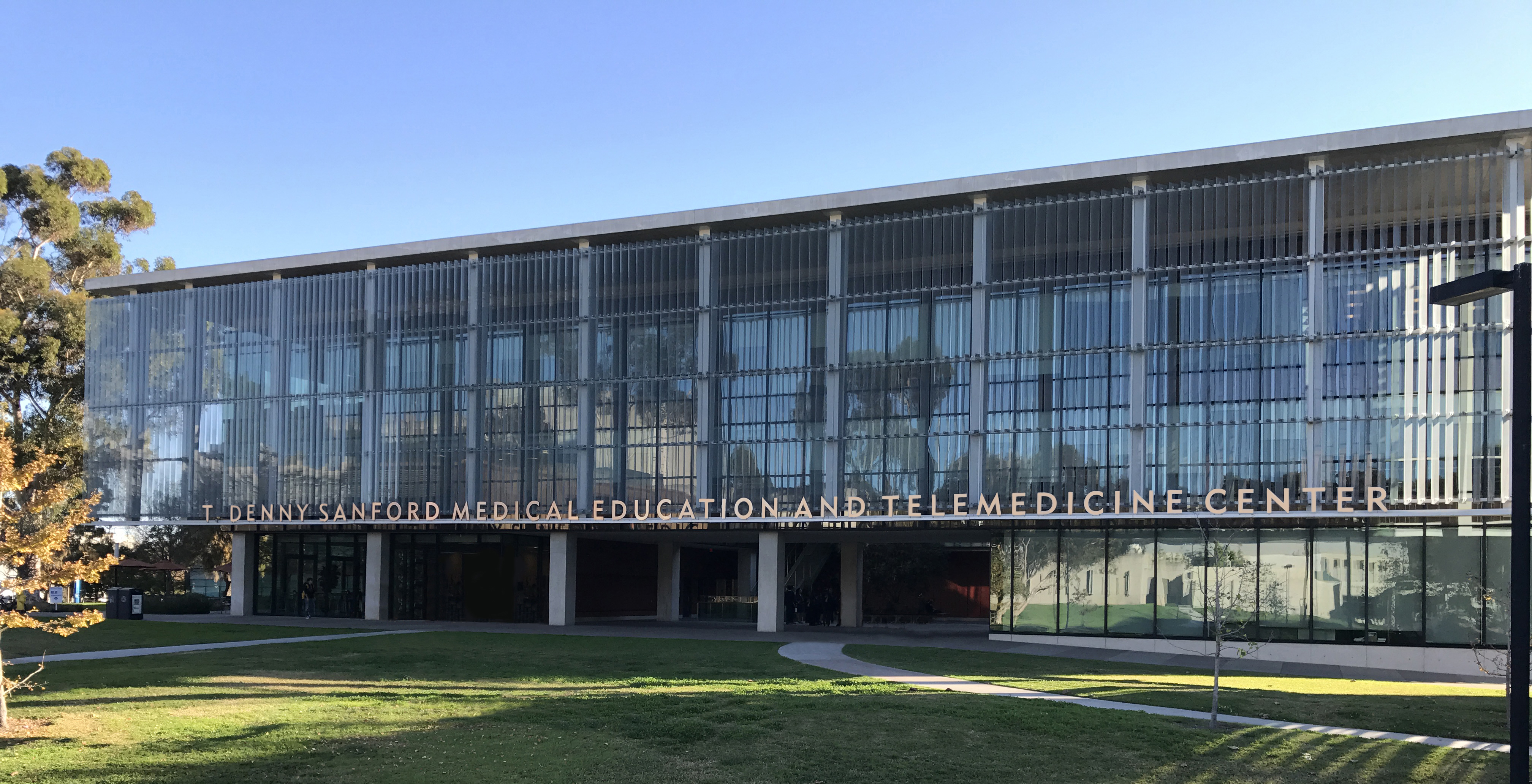 Front facade of the T. Denny Sanford Medical Education and Telemedecine Center Building