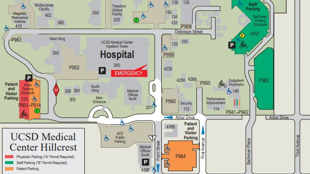 Map to UC San Diego Medical Center Hillcrest