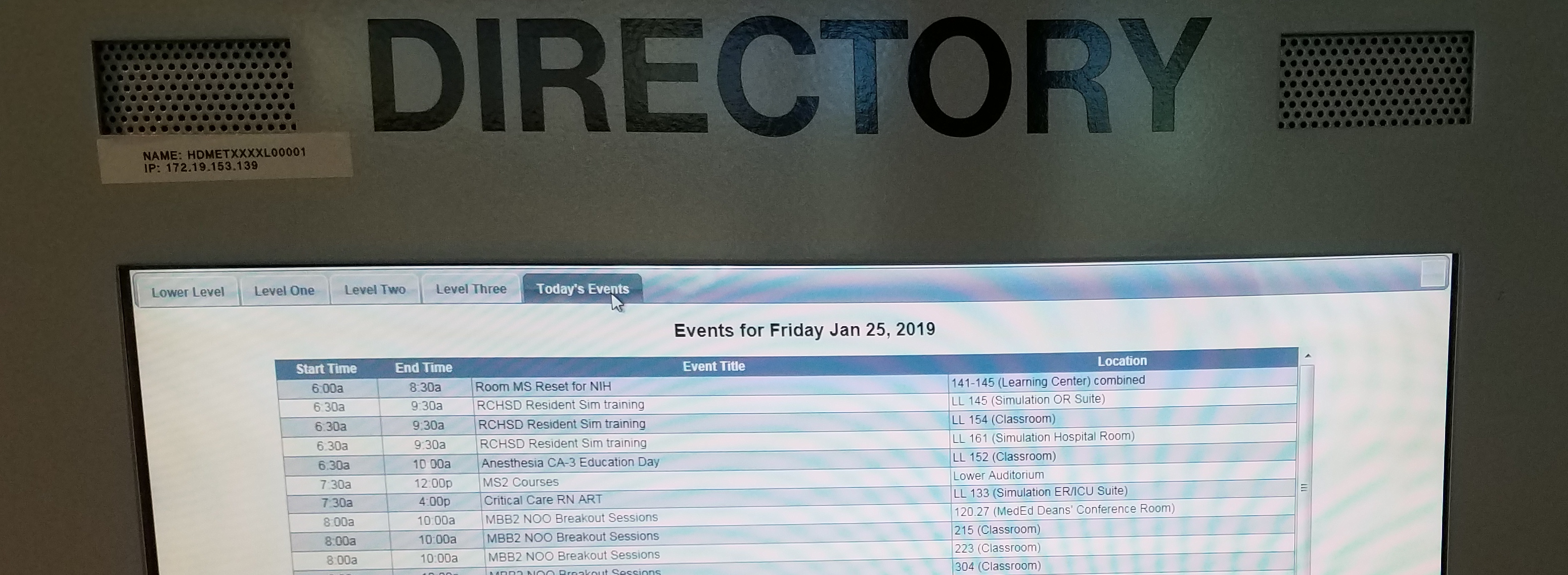 The MET Lower Level Directory displays today's events and room locations.