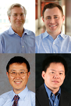 Top row (from left): Douglas Conrad, MD, and Drew Hall, PhD. Bottom row (from left): Xiangdong Xu, MD, PhD, and Yingxiao Wang, PhD.