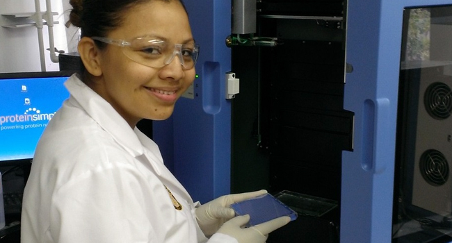 Samples being placed in the NanoPro for assay.
