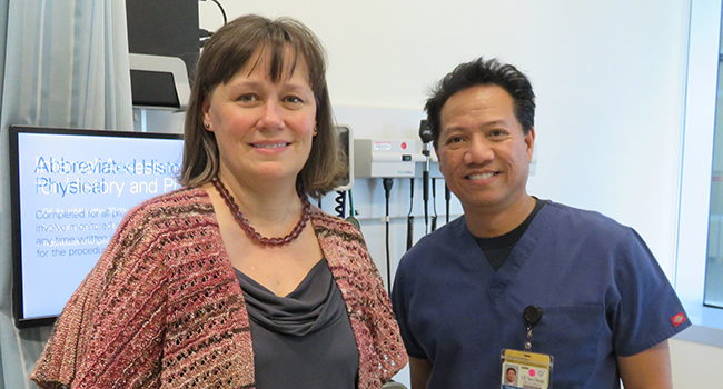 Dorothy Sears, PhD, and Dennis Perpetual, LVN, at the ACTRI clinic, where Sears conducted her sitting study.