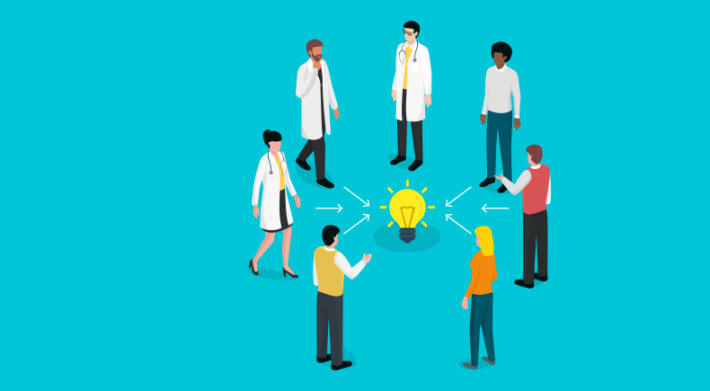 Scientists, physicians and community members standing in a circle all pointing towards a light bulb