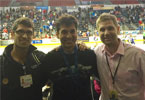 JP and Shawn joining Dr. Achar on the sidelines at a San Diego Sockers game