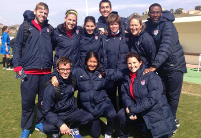U18 WNT staff photo with Alan Shahtaji, DO in the middle!