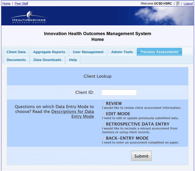 Health Outcomes Management Software - UCSD Health Services ...