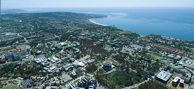 Aerial wide shot of UC San Diego campus. Credit: UC San Diego Publications.<br>Copyright Regents of the University of California.<br>These images are for use in official UC San Diego marketing and promotional materials only.