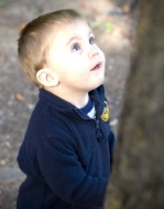 boy looking up