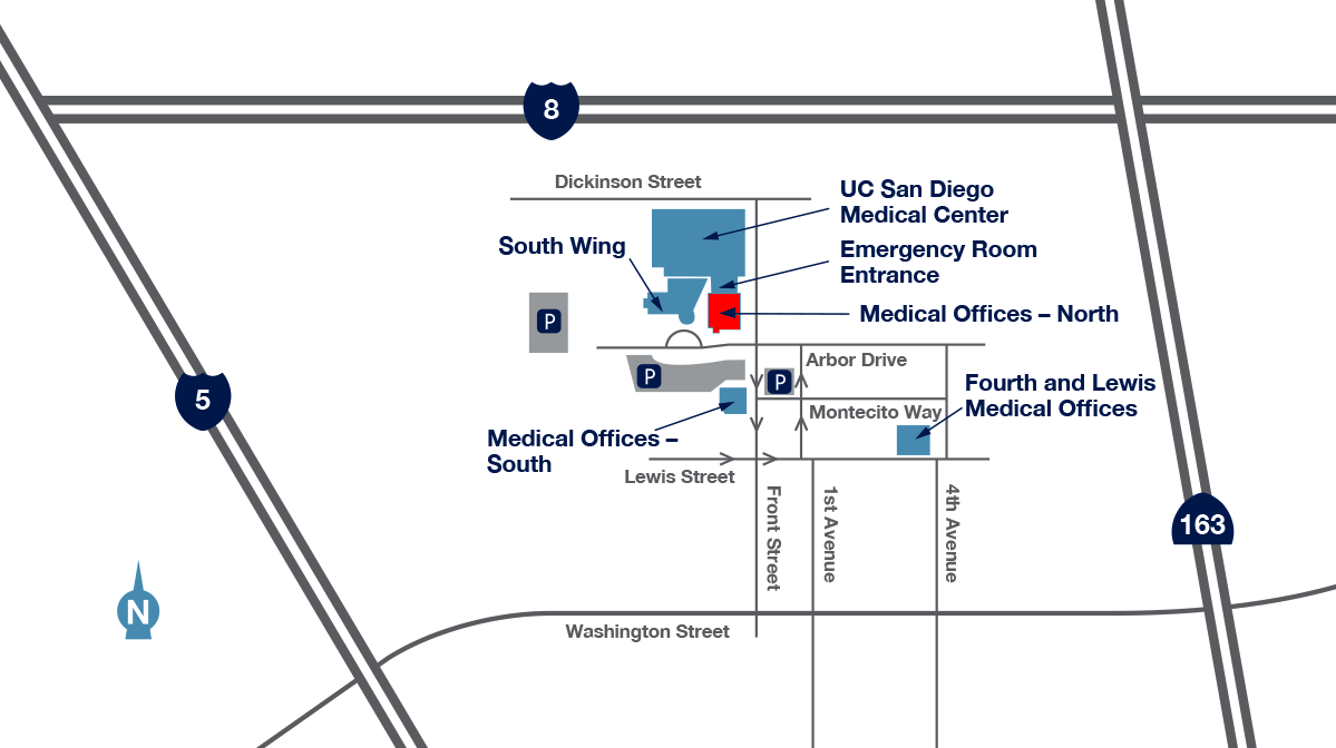 map to UCSD Medical Center