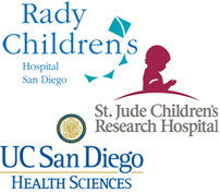 Rady's Children's Hospital, St. Jude Children's Research Hospital and UC San Diego Health System Logos