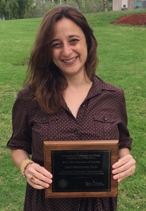 Arpi Minassian with Champion of Diversity Award Plaque